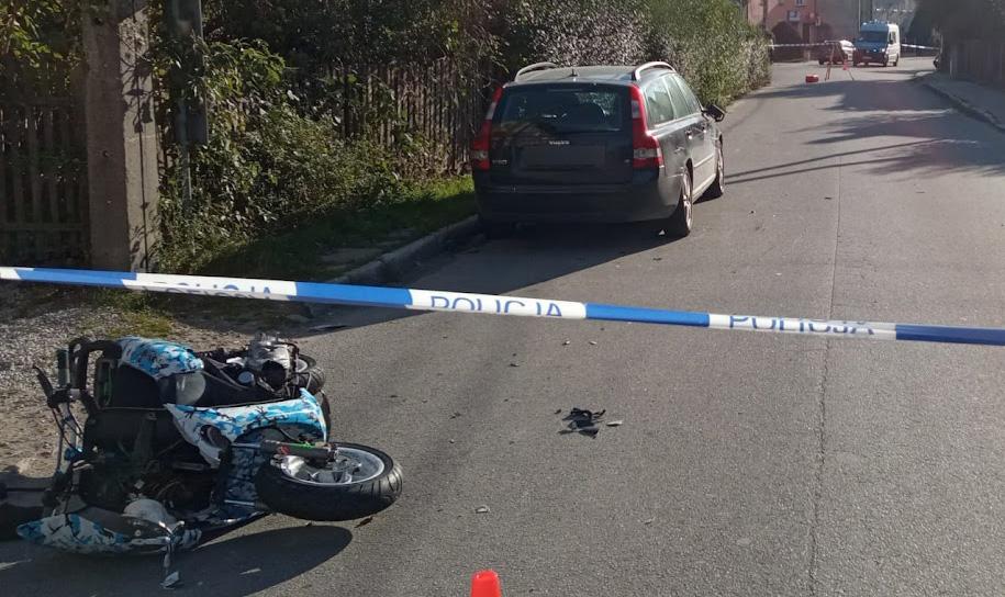 Zderzenie motoroweru z motocyklem w Goczałkowie [FOTO]