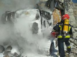 Spłonęła koparka w Granicznej [FOTO]